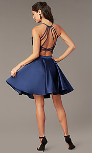 Image of two-piece short hoco dress with open-back top. Style: AL-3825 Detail Image 4