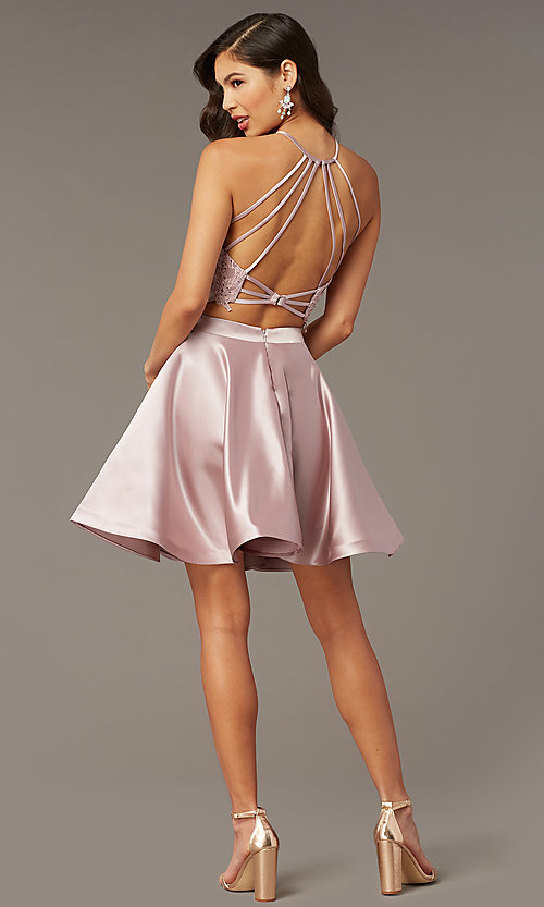 Image of two-piece short hoco dress with open-back top. Style: AL-3825 Front Image