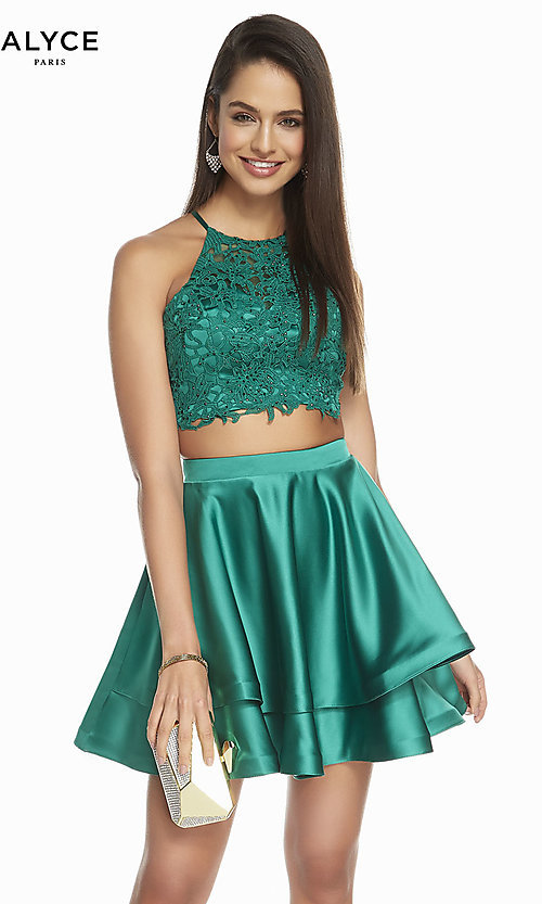 Image of two-piece short hoco dress with open-back top. Style: AL-3825 Detail Image 6
