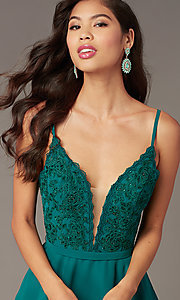Image of embroidered-lace-bodice short hoco dress by Alyce. Style: AL-3832 Detail Image 6