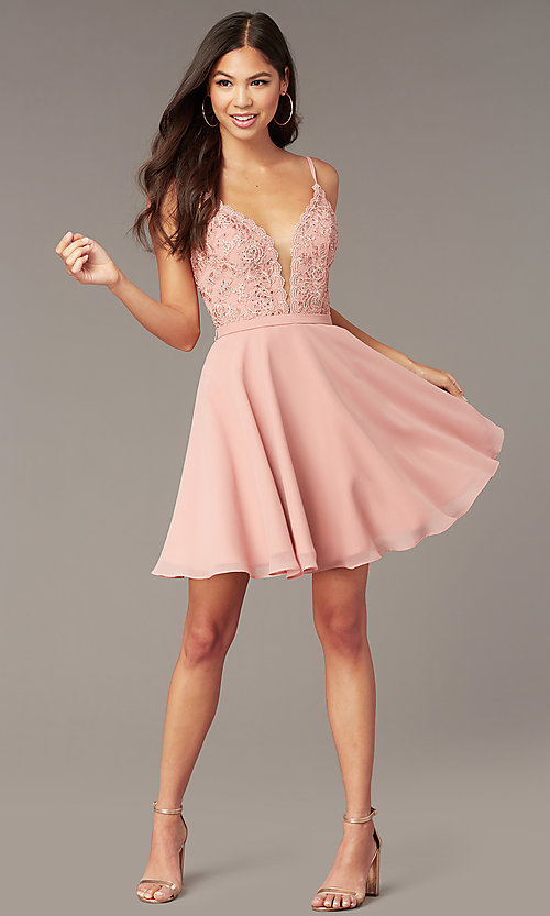 Image of embroidered-lace-bodice short hoco dress by Alyce. Style: AL-3832 Front Image