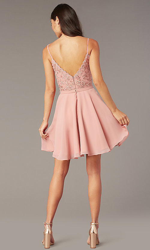 Image of embroidered-lace-bodice short hoco dress by Alyce. Style: AL-3832 Back Image