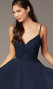 Image of short embroidered-bodice hoco party dress by Alyce. Style: AL-3833 Detail Image 1