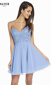 Image of short embroidered-bodice hoco party dress by Alyce. Style: AL-3833 Detail Image 5