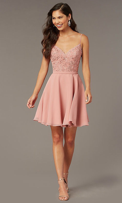 Image of short embroidered-bodice hoco party dress by Alyce. Style: AL-3833 Detail Image 2