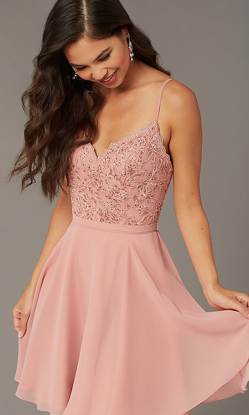 Image of short embroidered-bodice hoco party dress by Alyce. Style: AL-3833 Detail Image 4