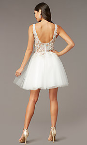 Image of embroidered-bodice short homecoming dress by Alyce. Style: AL-3863 Back Image