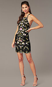 Image of short formal homecoming dress with embroidery. Style: AL-3859 Front Image