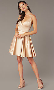 Image of short a-line v-neck hoco open-back dress by Alyce. Style: AL-3876 Detail Image 3