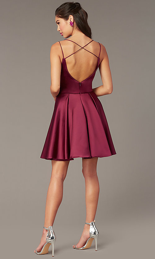 Image of short a-line v-neck hoco open-back dress by Alyce. Style: AL-3876 Back Image