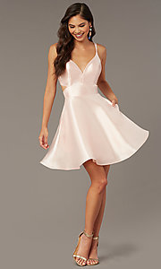 Image of short v-neck Alyce hoco party dress with cut outs. Style: AL-3879 Detail Image 1