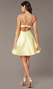 Image of short v-neck Alyce hoco party dress with cut outs. Style: AL-3879 Back Image