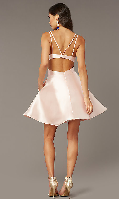 Image of short v-neck Alyce hoco party dress with cut outs. Style: AL-3879 Detail Image 2