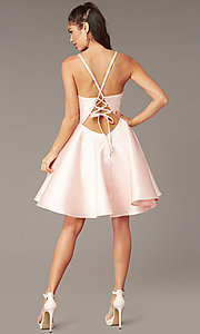Image of short a-line satin hoco dress with corset. Style: AL-3880 Detail Image 2