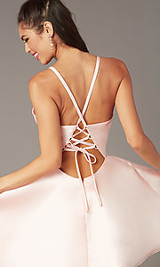 Image of short a-line satin hoco dress with corset. Style: AL-3880 Detail Image 3