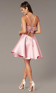 Image of short a-line satin hoco dress with corset. Style: AL-3880 Detail Image 5