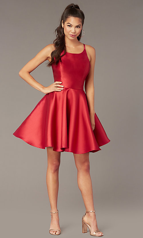 Image of short a-line satin hoco dress with corset. Style: AL-3880 Detail Image 7
