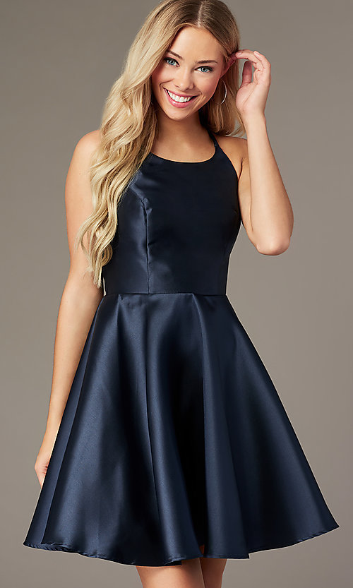 Image of short a-line satin hoco dress with corset. Style: AL-3880 Back Image