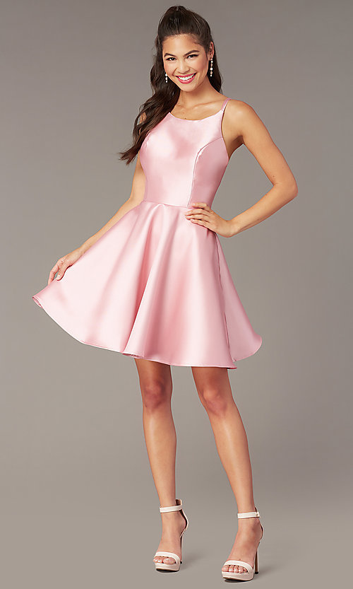 Image of short a-line satin hoco dress with corset. Style: AL-3880 Detail Image 4