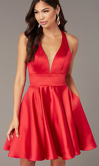 Hoco Short A-Line Party Dress with Pockets