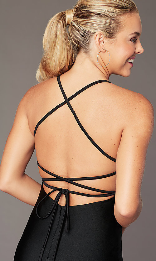 Image of short fitted open-back homecoming dress by Alyce. Style: AL-4087 Detail Image 6