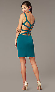 Image of caged-open-back short hoco party dress. Style: AL-4095 Back Image