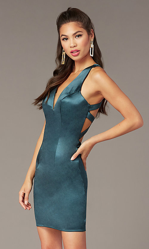 Image of short v-neck Alyce hoco dress with cut outs. Style: AL-A4097 Detail Image 1