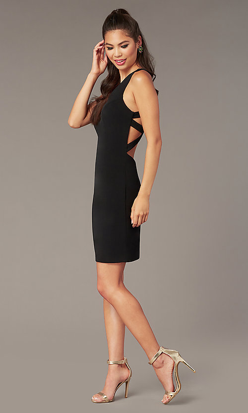 Image of short sleeveless jersey homecoming dress by Alyce. Style: AL-A4098 Detail Image 1