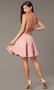 Image of Alyce short a-line open-back homecoming dress. Style: AL-A4117 Detail Image 3