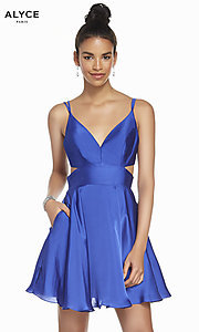 Image of Alyce short a-line open-back homecoming dress. Style: AL-A4117 Detail Image 7