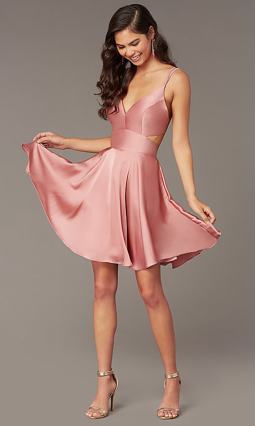 Image of Alyce short a-line open-back homecoming dress. Style: AL-A4117 Detail Image 2