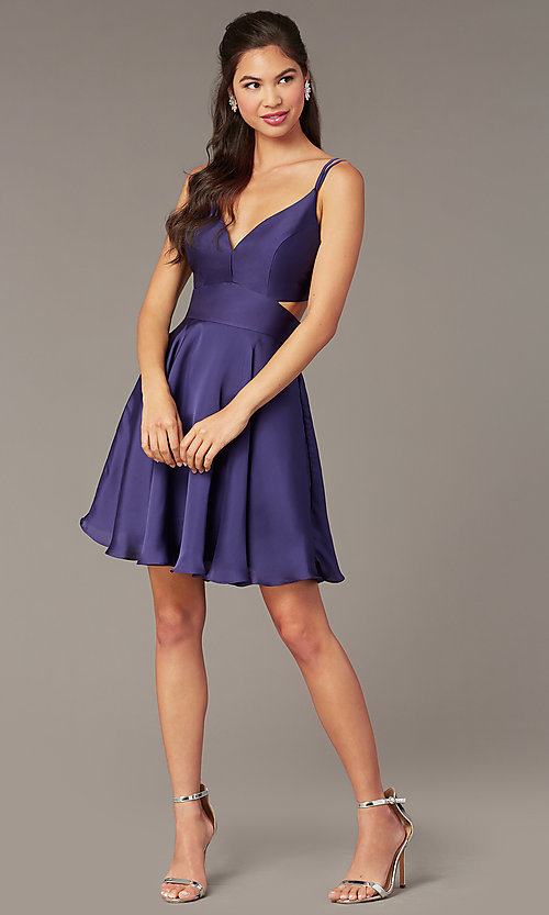 Image of Alyce short a-line open-back homecoming dress. Style: AL-A4117 Front Image