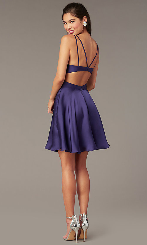 Image of Alyce short a-line open-back homecoming dress. Style: AL-A4117 Back Image