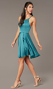 Image of a-line open-back satin homecoming dress by Alyce. Style: AL-A4118 Detail Image 3