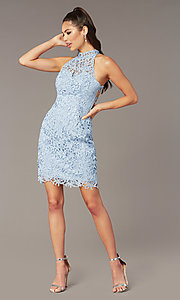 Image of short lace high-neck homecoming dress by Alyce. Style: AL-A4139 Front Image