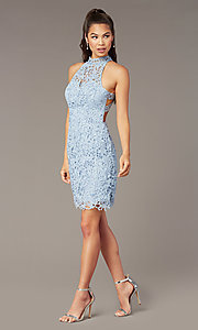 Image of short lace high-neck homecoming dress by Alyce. Style: AL-A4139 Detail Image 1