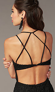 Image of strappy-back short formal lace dress by Alyce. Style: AL-A4141 Detail Image 4