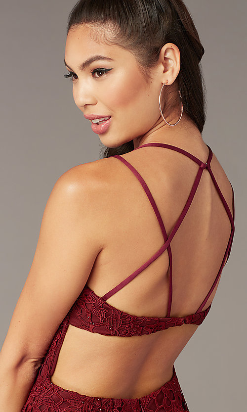 Image of strappy-back short formal lace dress by Alyce. Style: AL-A4141 Detail Image 1