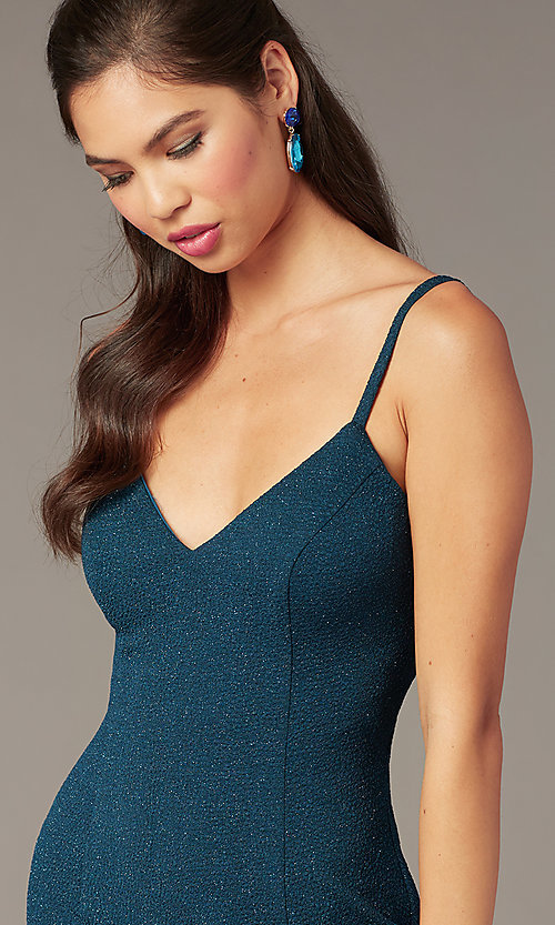 Image of glitter short hoco party dress with deep v-neck. Style: AL-4172 Detail Image 1