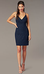 Image of glitter-knit short Alyce homecoming party dress. Style: AL-A4173 Front Image