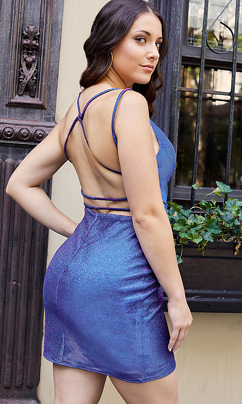 Image of short glitter Alyce hoco dress in treasure blue. Style: AL-A4181 Front Image