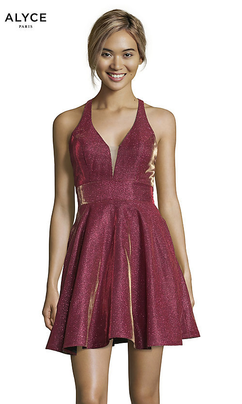Image of short cracked-ice taffeta homecoming party dress. Style: AL-4182 Detail Image 2