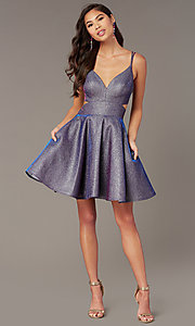 Image of iridescent blue glitter short homecoming dress. Style: AL-A4183 Front Image