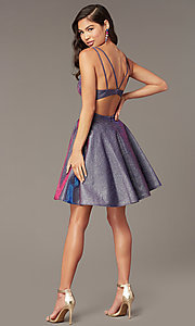 Image of iridescent blue glitter short homecoming dress. Style: AL-A4183 Back Image