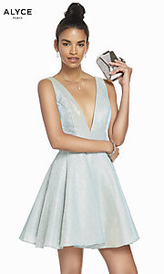 Image of v-neck short glitter homecoming dress by Alyce. Style: AL-4186 Detail Image 7