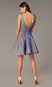 Image of v-neck short glitter homecoming dress by Alyce. Style: AL-4186 Detail Image 3