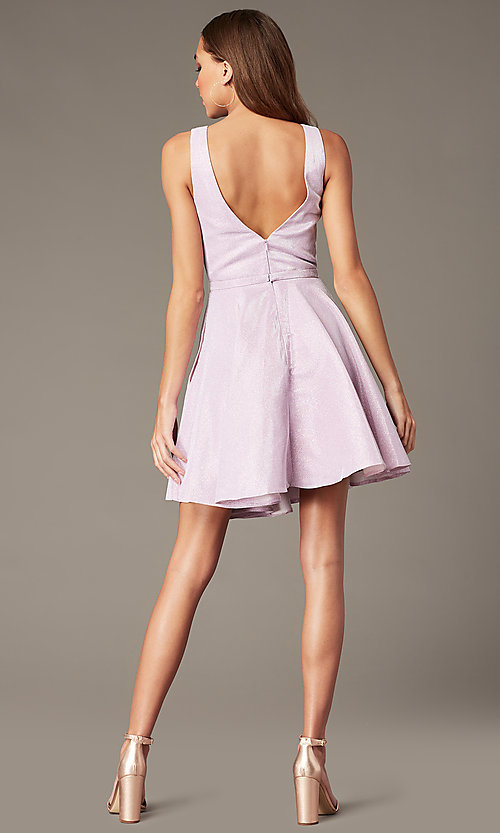 Image of v-neck short glitter homecoming dress by Alyce. Style: AL-4186 Back Image