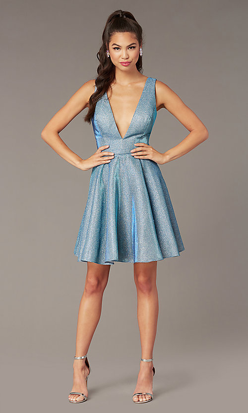 Image of v-neck short glitter homecoming dress by Alyce. Style: AL-4186 Detail Image 1