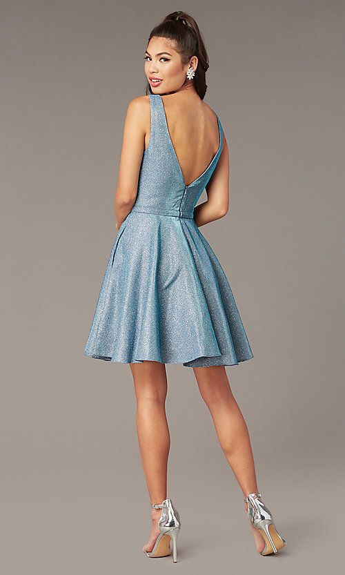 Image of v-neck short glitter homecoming dress by Alyce. Style: AL-4186 Detail Image 2