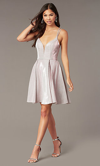 Boujee Pink Metallic Hoco Party Dress by Alyce